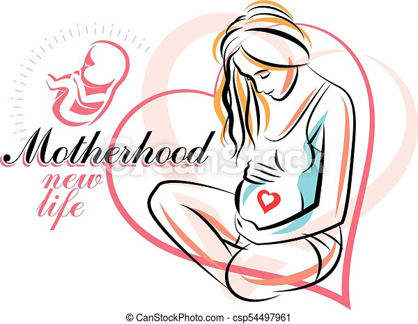 pregnant woman elegant body silhouette sketchy vector clip art rh canstockphoto com pregnancy clip art free to print pregnant clipart images