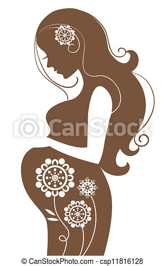 Pregnant woman in flowers - csp11816128