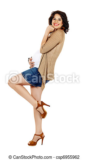 pregnant woman in shorts - csp6955962