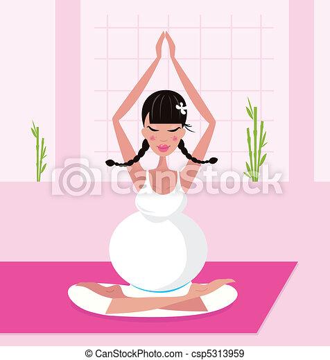 Pregnant woman in yoga lotus pose - csp5313959