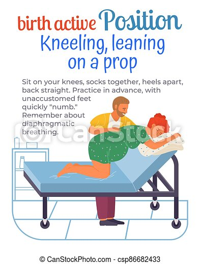 Pregnant woman kneeling on couch preparing for birth. Man helps wife give birth. Follow instruction - csp86682433