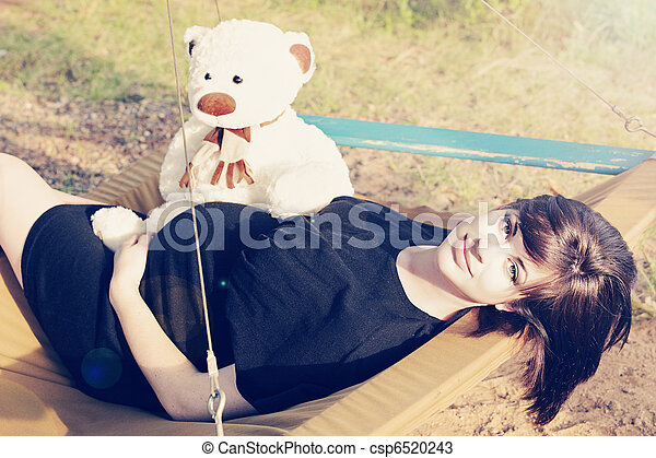 pregnant woman outdoors - csp6520243