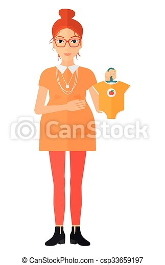 Pregnant woman with clothes for baby. - csp33659197