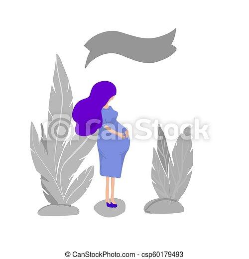 pregnant women in the garden vector illustration - csp60179493