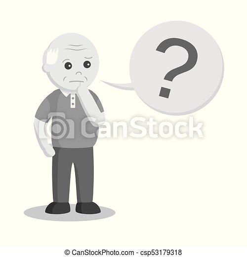 Un anciano africano con interrogación - csp53179318