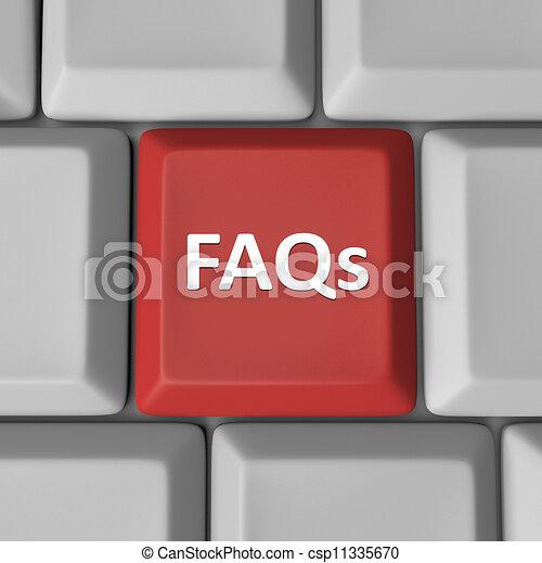preguntas, faqs, llave computadora, teclado, frequently, preguntado, rojo - csp11335670