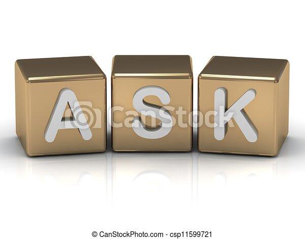 Pregunta la inscripción de los cubos de oro - csp11599721