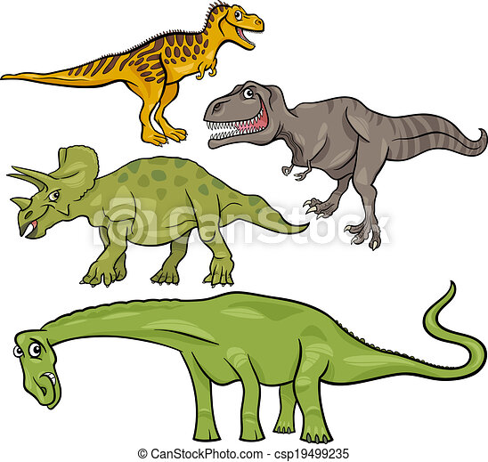 prehistoric dinosaurs cartoon set - csp19499235