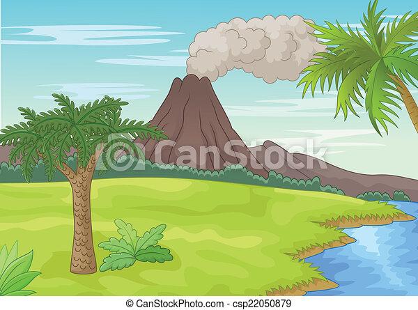 Vector illustration of prehistoric landscape.