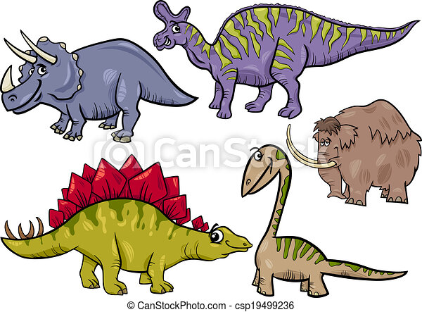 prehistoric set cartoon illustration - csp19499236