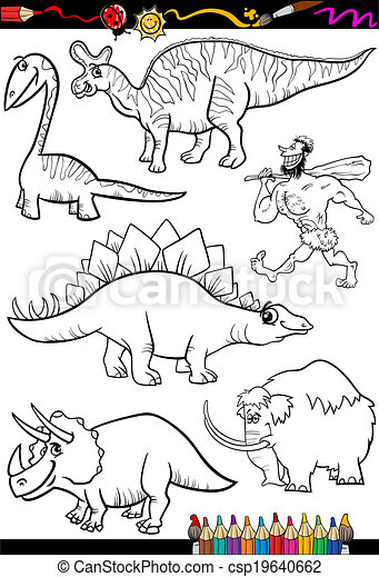prehistoric set for coloring book - csp19640662