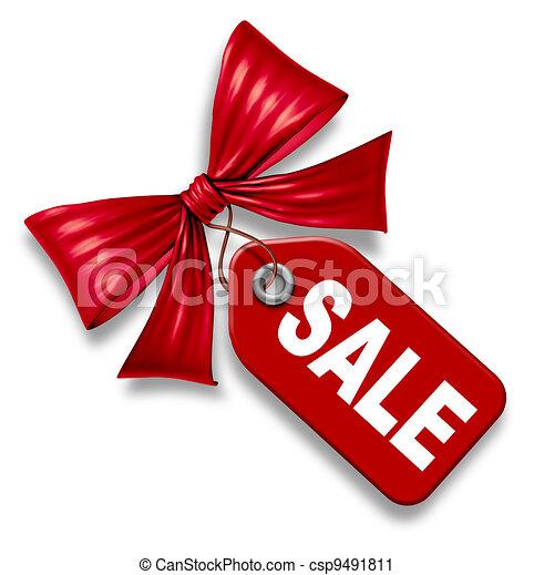 preis, verkauf, schleife, etikett, geschenkband, schlips, rotes  - csp9491811