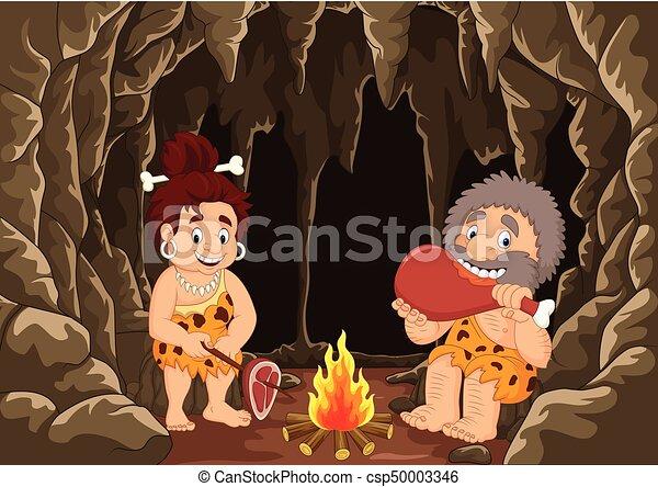 Preistorico caveman caverna cartone animato fondo coppia