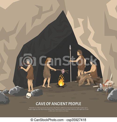 preistorico, caverna, illustrazione - csp35927418
