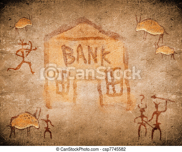 Preistorico Pittura Caverna Banca Canstock