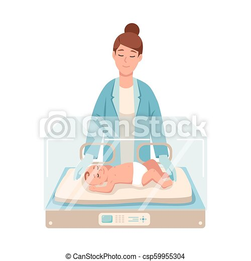 Premature newborn infant lies inside neonatal intensive care unit, female doctor or pediatric nurse stands beside it and checks. Baby nursery. Colorful vector illustration in flat cartoon style. - csp59955304