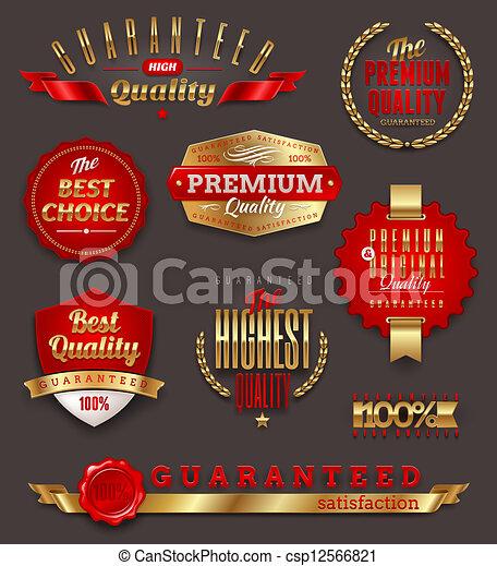 premie, etiketten, kwaliteit, gouden - csp12566821