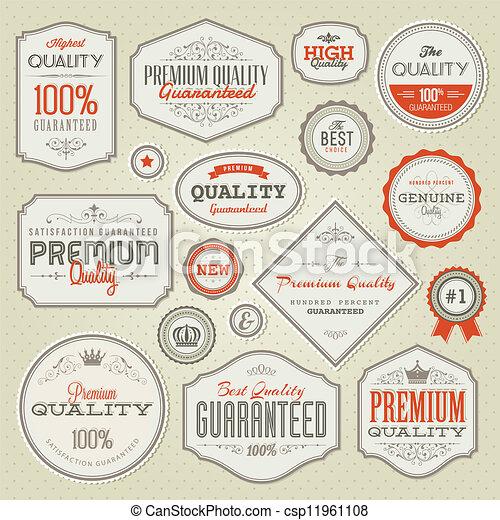 premie, etiketten, set, kwaliteit - csp11961108
