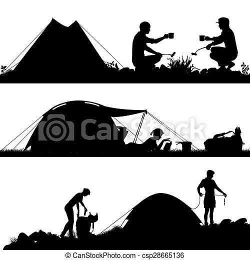 premier plan, silhouettes, camping - csp28665136