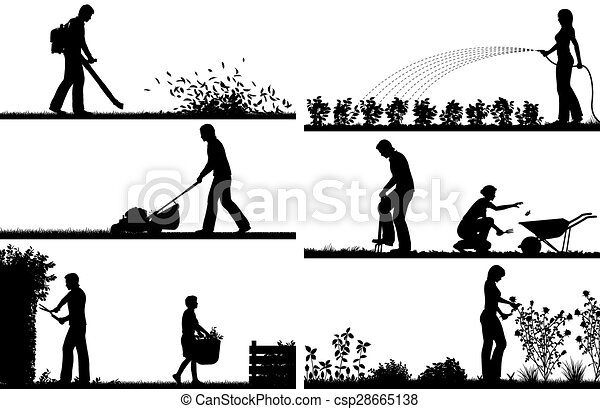 premier plan, silhouettes, jardinage - csp28665138