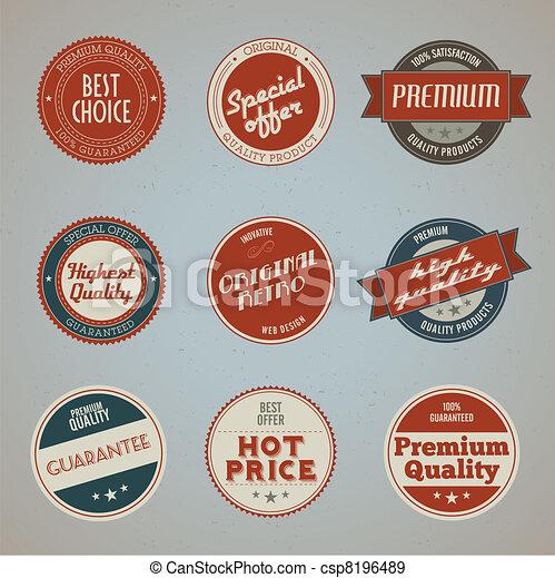 premio, etichette, set, qualità - csp8196489
