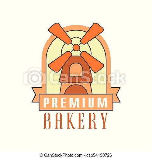 Premium bakery logo template, bread shop badge retro food label design vector Illustration - csp54130726