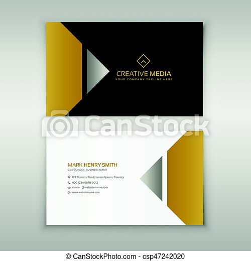 Business Card Design 2020.Premium Business Card Design In Golden Theme