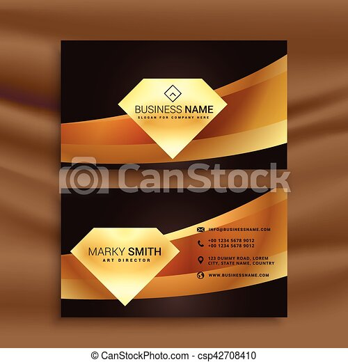 Premium Business Card Template With Golden Wave Shape