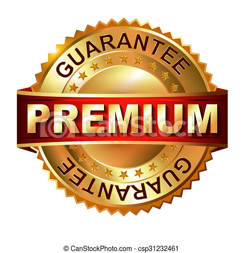 Premium golden label with ribbon. - csp31232461
