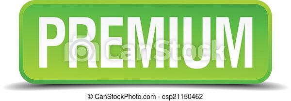 Premium green 3d realistic square isolated button - csp21150462