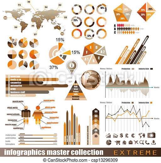 Premium infographics master collection: graphs, histograms, arrows, chart, 3D globe, icons and a lot of related design elements. - csp13296309