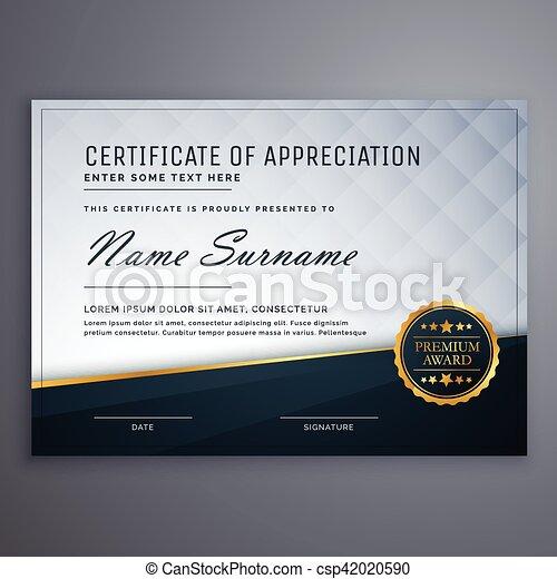 premium modern certificate of appreciation template design - csp42020590