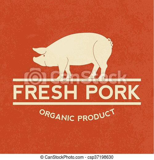 Premium pork label with grunge texture, organic - csp37198630