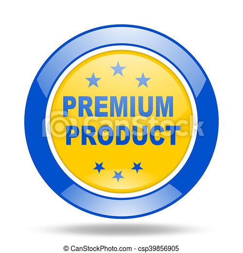 premium product blue and yellow web glossy round icon - csp39856905