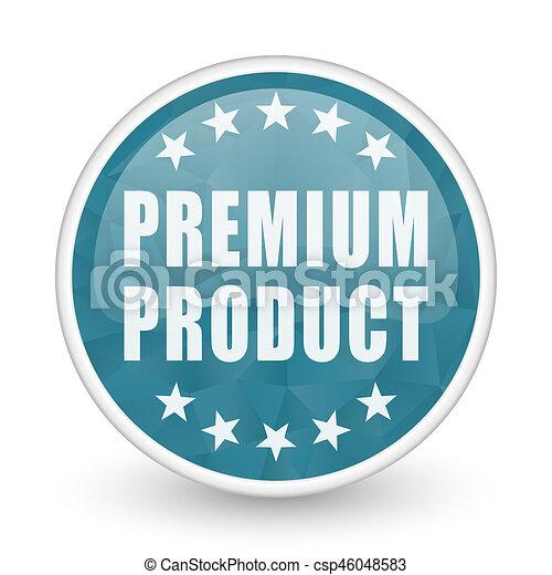 Premium product brillant crystal design round blue web icon. - csp46048583