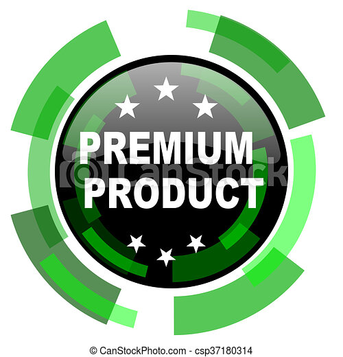 premium product icon, green modern design isolated button, web and mobile app design illustration - csp37180314