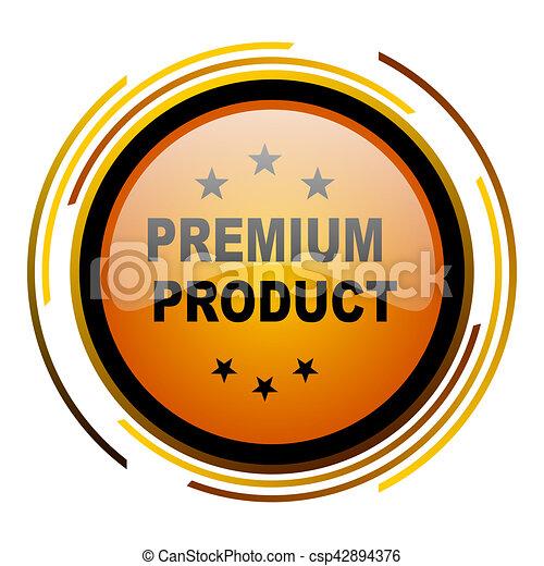 premium product round design orange glossy web icon - csp42894376