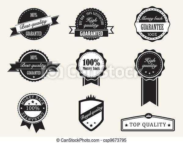 Premium Quality and Guarantee Badges with retro vintage style - csp9673795