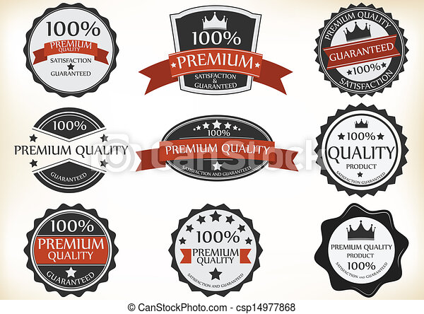 vector illustration of premium quality and guarantee labels with