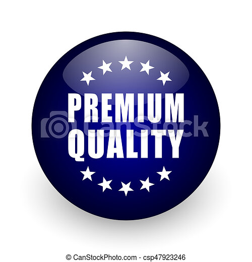 Premium quality blue glossy ball web icon on white background. Round 3d render button. - csp47923246