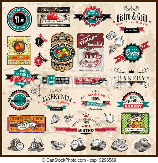 Premium quality collection of Vintage Restaurant, bistro and food & co labels with different styles and space for text. - csp13296589