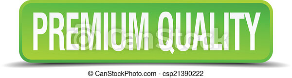 premium quality green 3d realistic square isolated button - csp21390222