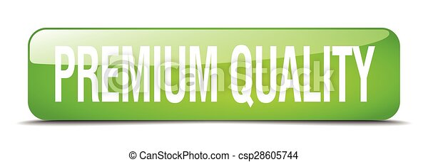 premium quality green square 3d realistic isolated web button - csp28605744