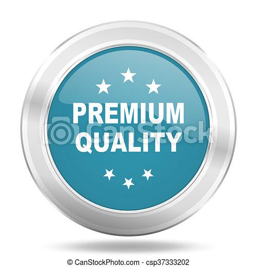 premium quality icon, blue round glossy metallic button, web and mobile app design illustration - csp37333202