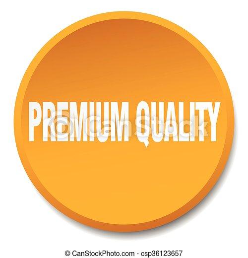 premium quality orange round flat isolated push button - csp36123657