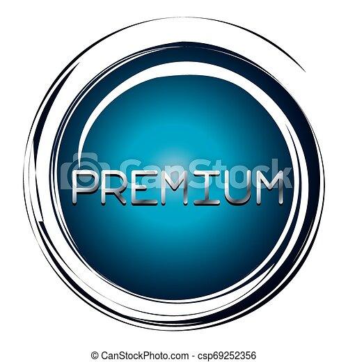 premium word on blue button - csp69252356