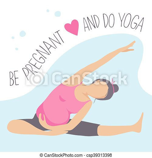 prenatale, donna, exercise., yoga., incinta - csp39313398