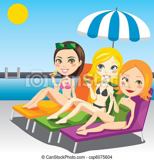 prendere il sole, donne - csp6075604
