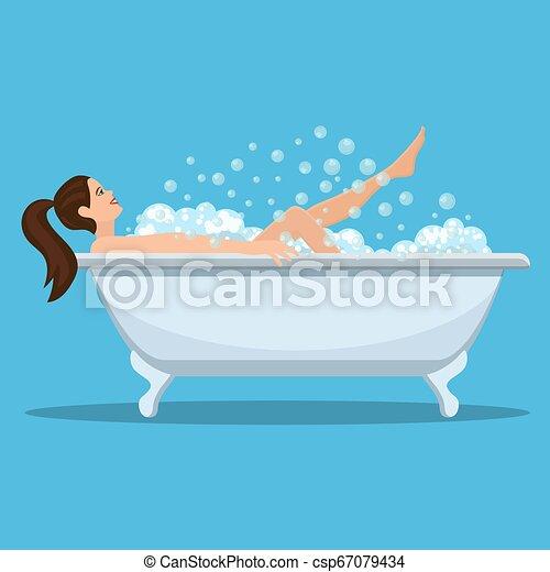 prendre, femme, bath. - csp67079434