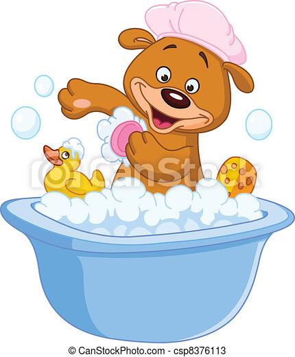 prendre, ours peluche, bain - csp8376113